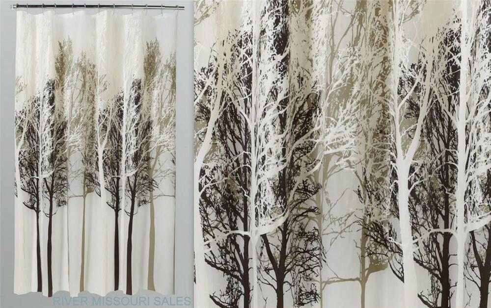 """Neutral Stand Of Trees Forest Shower Curtain, Modern, Peva 70"""" x 72 ..."""
