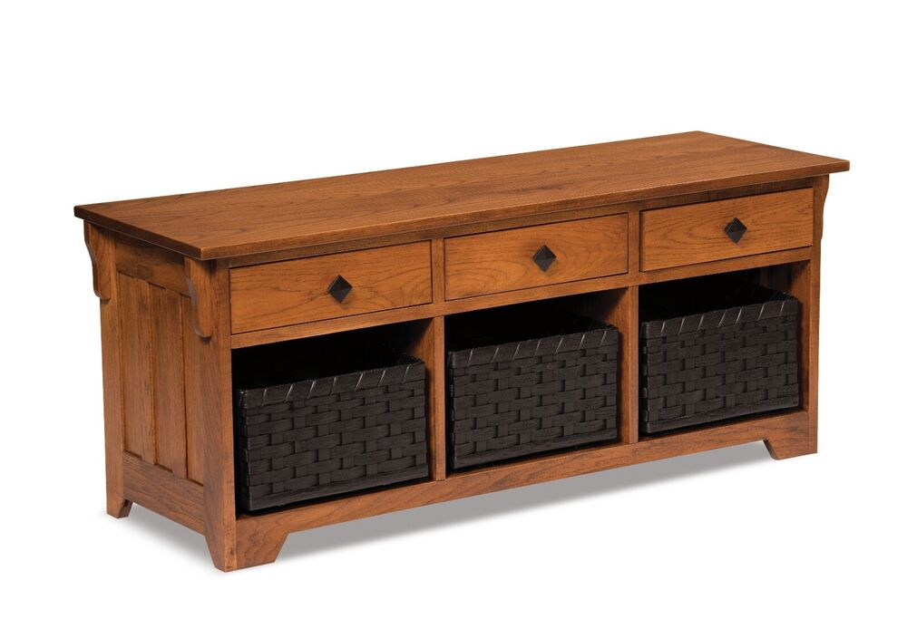 Amish storage bench wooden entryway benches baskets upholstered seat new ebay Bench with baskets