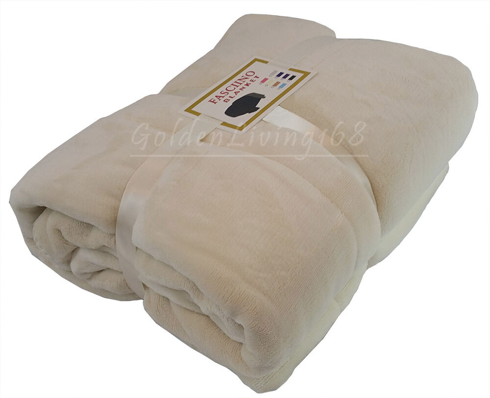 Beige white soft high quality queen borrego velour plush for Soft blankets and throws