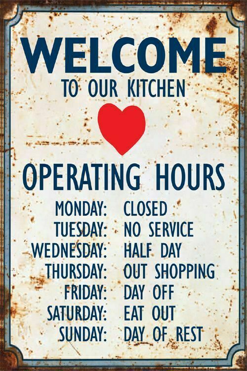 Metal Sign Vintage Plaque Welcome Kitchen Hours Wall Fun