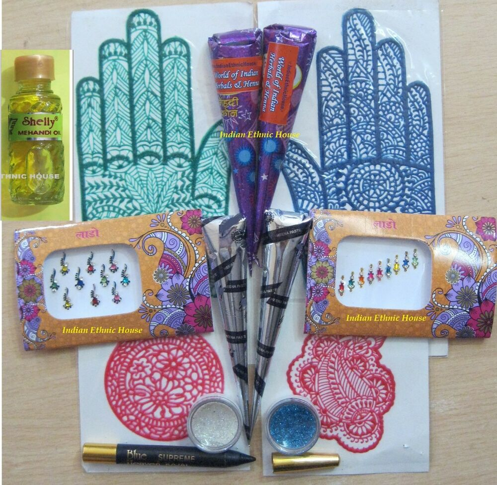 Henna kits for body art mehndi mehendi temporary tattoo for Tattoo supplies ebay