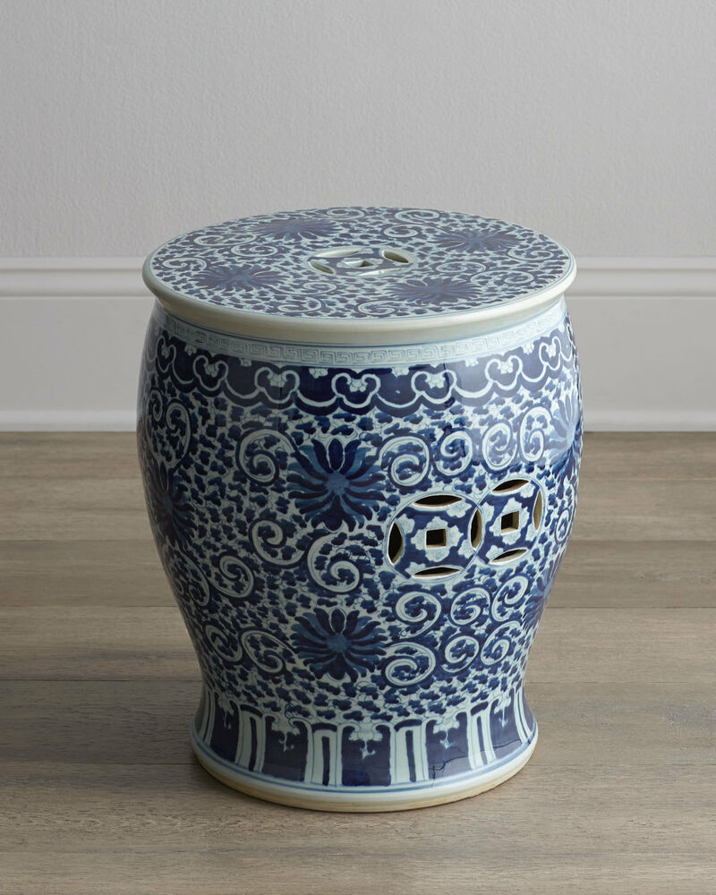 Blue And White Twisted Lotus Chinese Garden Stool Indoor