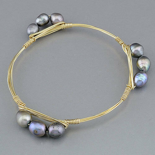Popular Bangle Bracelets: Gold Wire Wrapped Bangle Bracelet Gray Pearl Inspired