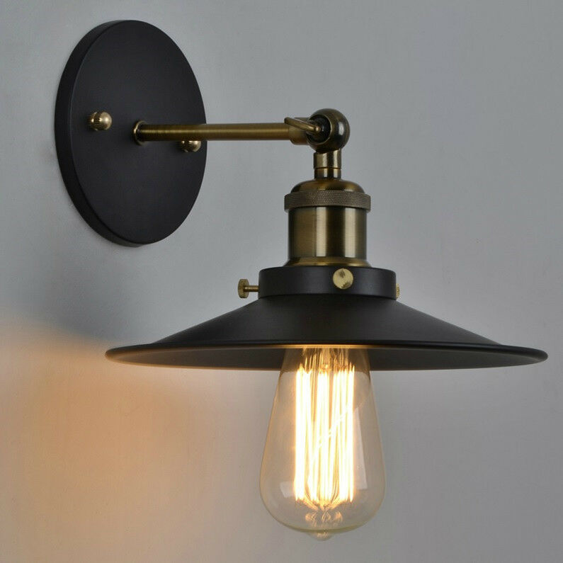 vintage industrial style metal wall mount lamp light edison bulb 23cm shade ebay. Black Bedroom Furniture Sets. Home Design Ideas