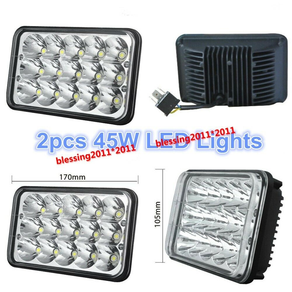 Led Headlights Sealed Beam Tractor : Pair quot x led cree light bulb crystal clear sealed beam