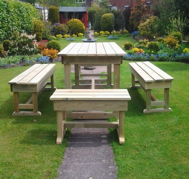 Patio Set Wooden Garden Furniture Table And Bench Set Heavy Duty Outdoor Ebay