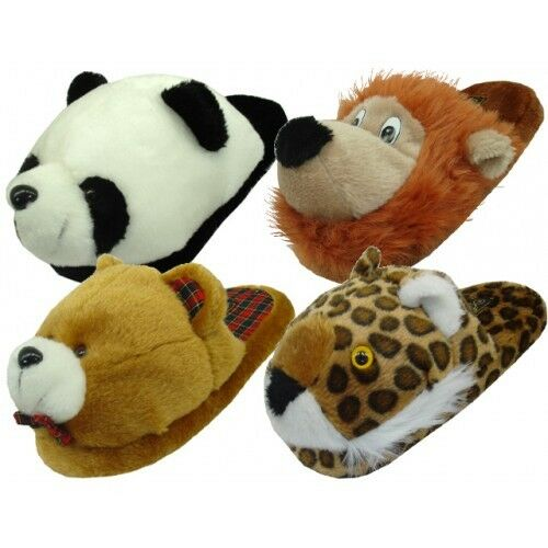womens animal house slippers plush fuzzy cushion cozy bedroom shoes s m l xl ebay