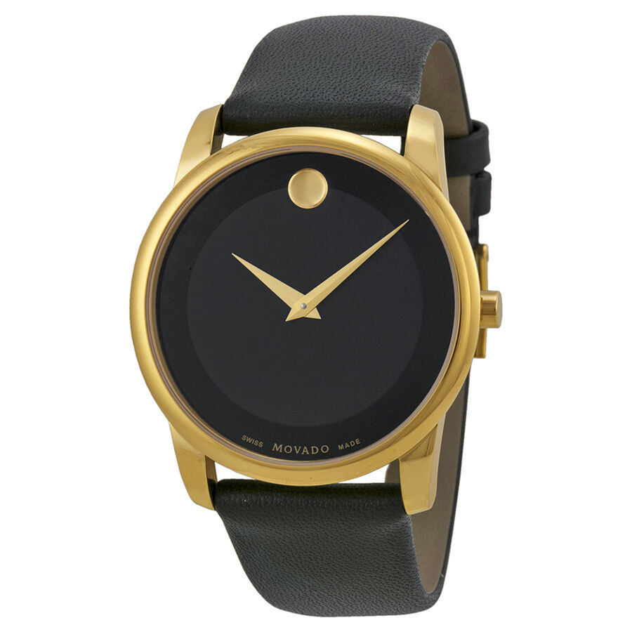 movado museum black leather mens 0606876 ebay