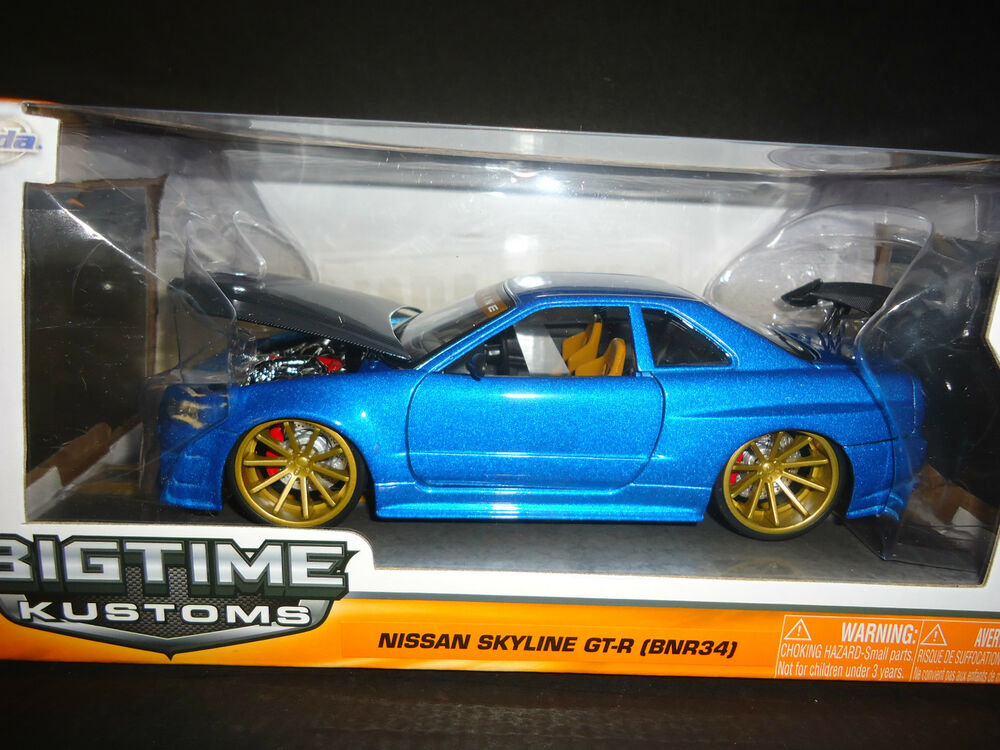 Fast And Furious 8 Cars List >> Jada Nissan Skyline GT-R R34 BN-R34 Custom Blue with carbon fiber hood 1/24 | eBay