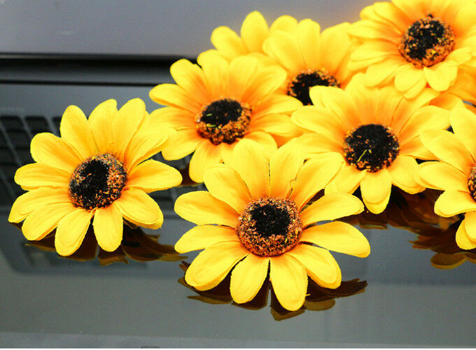 Wholesale 50pcs 7cm sunflower artificial silk flowers for Flower heads for crafts