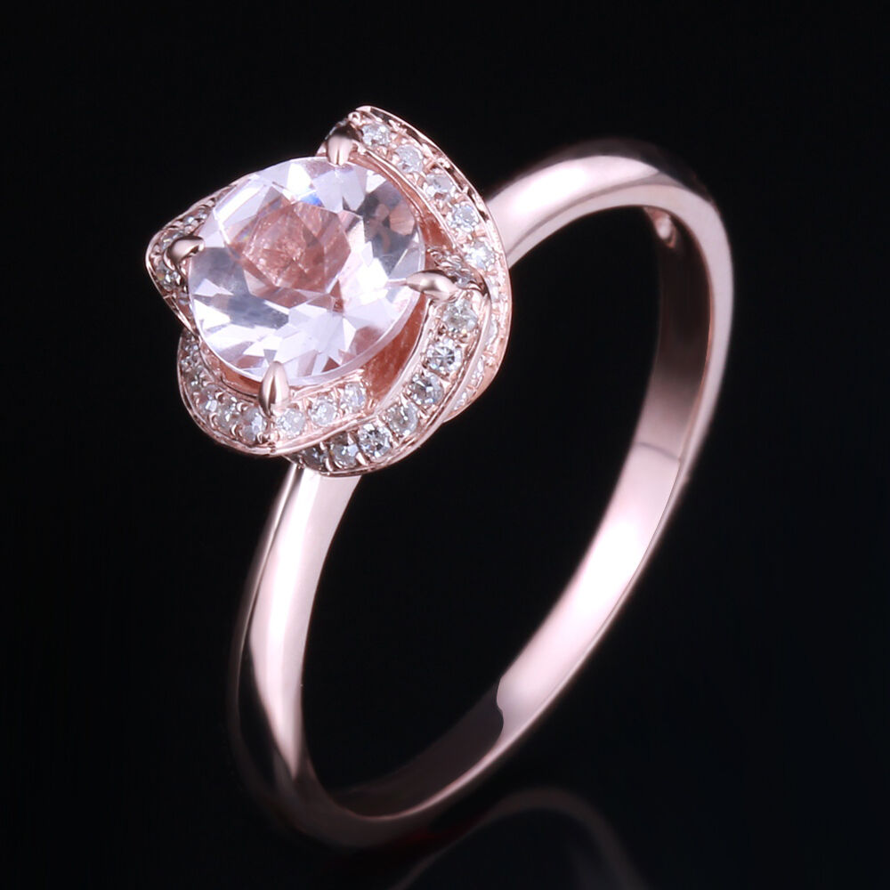 Diamonds 10K Rose Gold 6 5mm Round Cut Halo Pink Morganite Engagement Ring