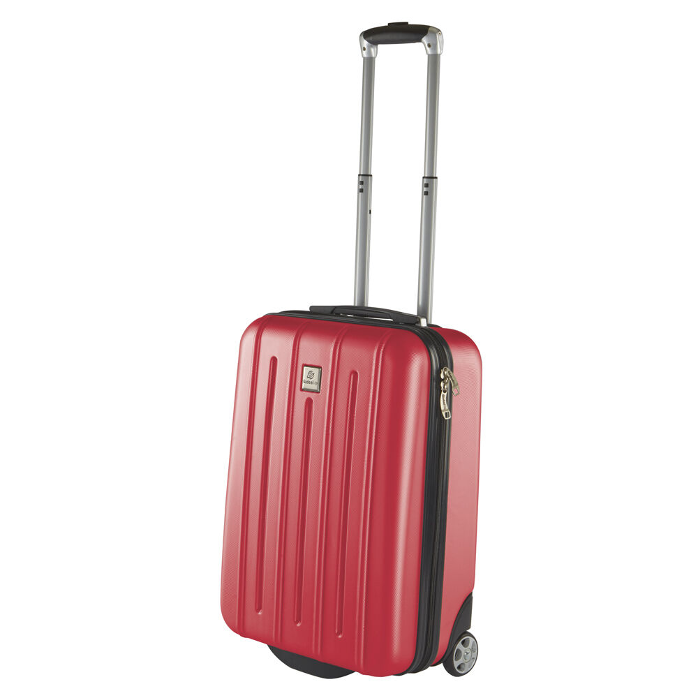 red hard shell 2 wheeled cabin case suitcase abs luggage. Black Bedroom Furniture Sets. Home Design Ideas