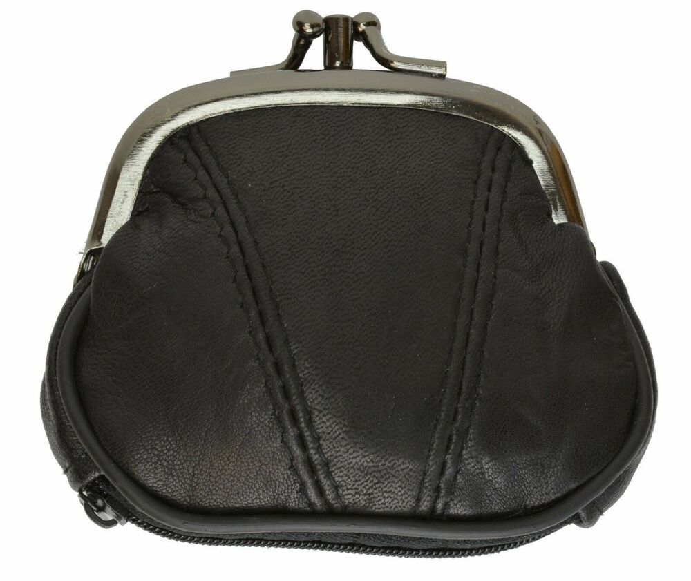 Black Small Leather Metal Frame Coin Purse