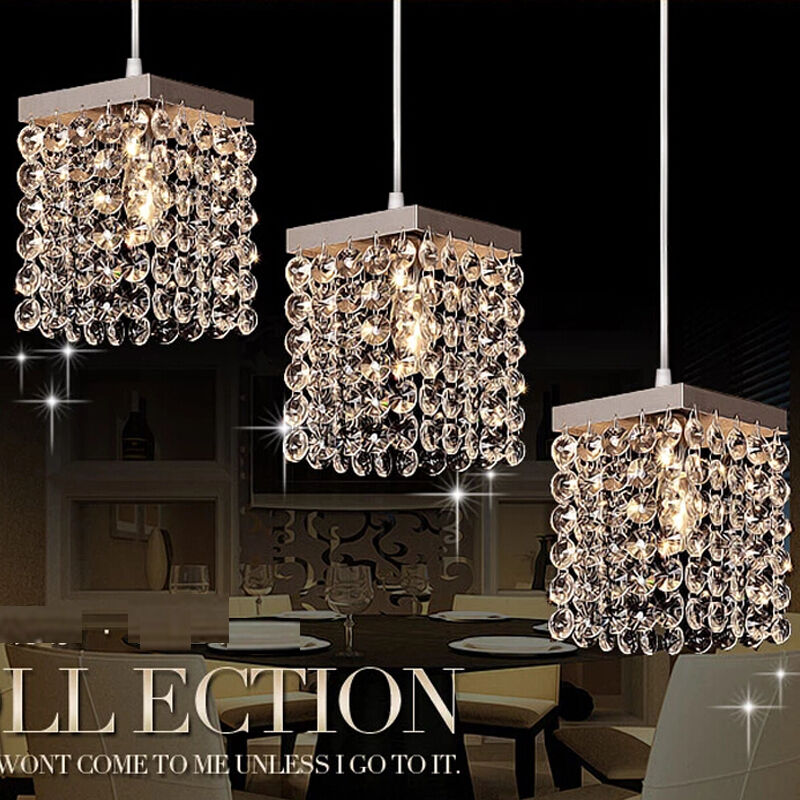 Led modern crystal chandelier ceiling lights pendant lamp dining room lighting ebay - Dining room crystal chandelier lighting ...