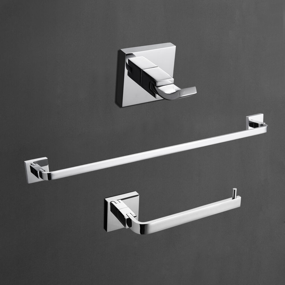 chrome robe hook towel ring towel bar 3 piece bathroom