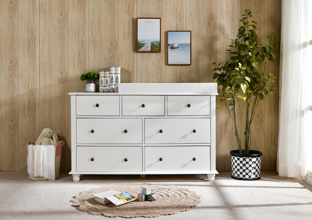NZ Pine Baby Change Table 7 Chest Of Drawers Dresser W/ Change Pad    English Oak
