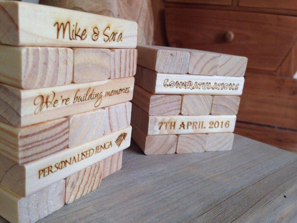 Cheap Wedding Present Ideas Uk : Personalised Jenga Wedding Guest Book Wedding Gift Special Event ...