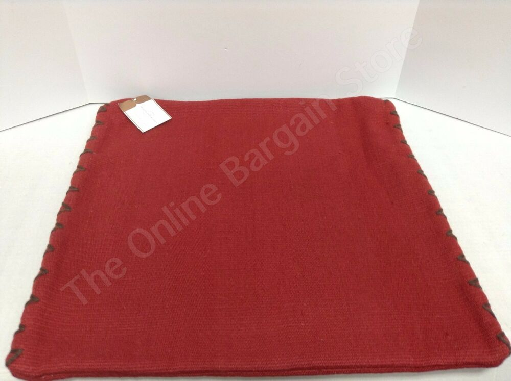 pottery barn dhurrie sham bed sofa chair throw pillow cover 100 wool cherry red ebay. Black Bedroom Furniture Sets. Home Design Ideas