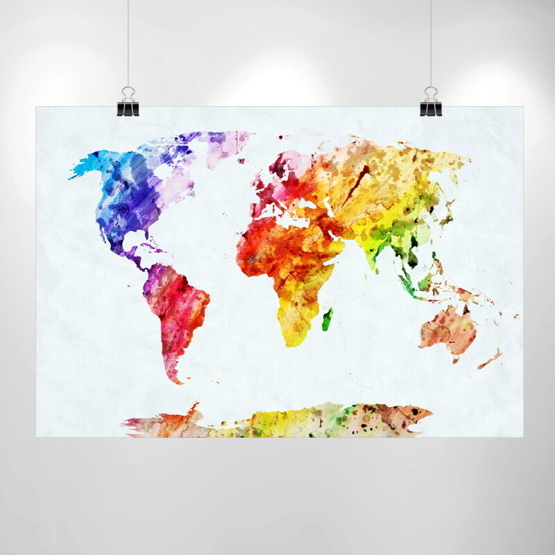 Large watercolor world map print home decor print poster for Cheap prints and posters