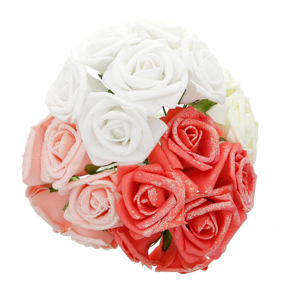 Diy Wedding Bouquets Without Flowers : Latex rose flower diy bouquet bridal wedding party