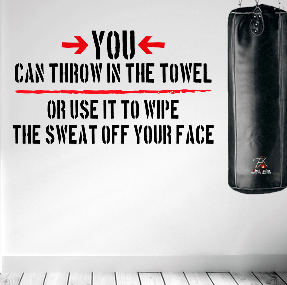 Workout Towels With Sayings: Throw In The Towel Wall Decal Quote Boxing Fitness Diet
