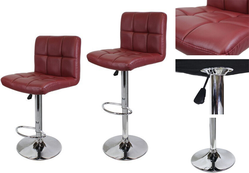 2pcs Wine Red Pu Leather Barstools Modern Hydraulic Bar