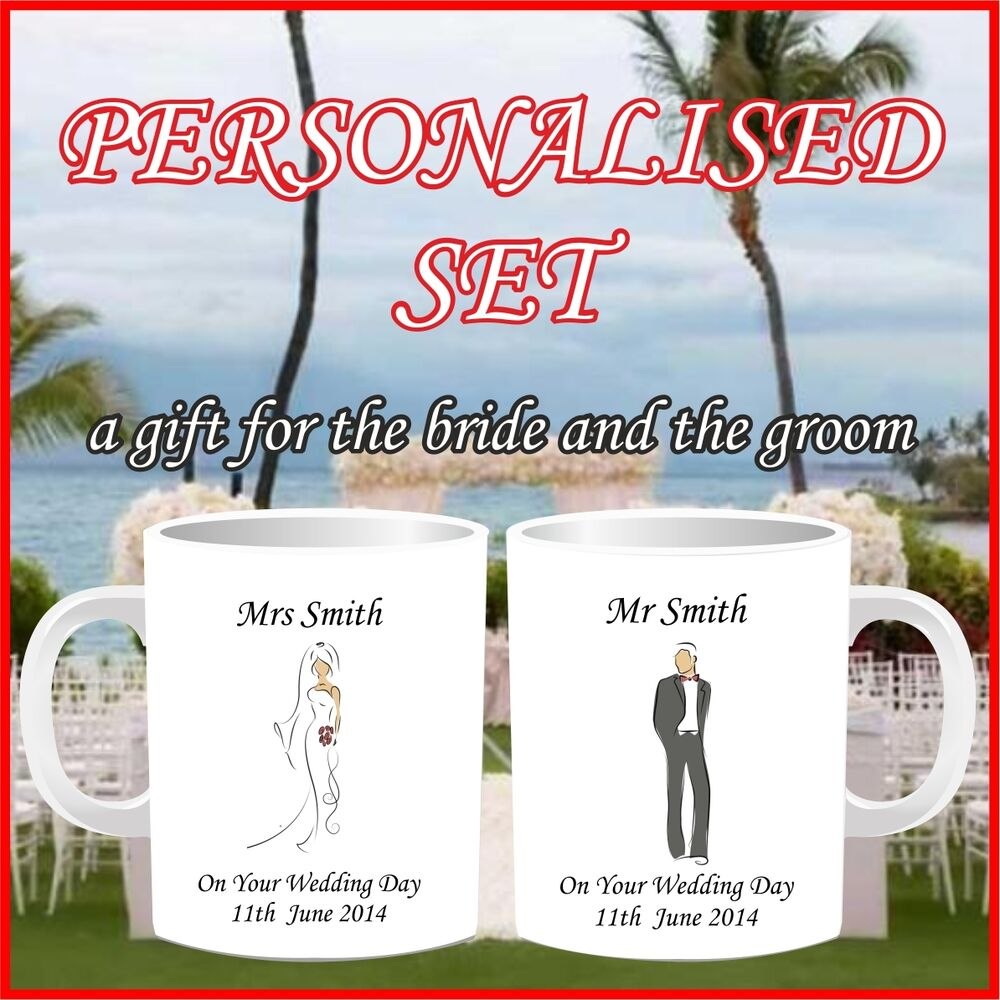 Wedding Gifts Mr And Mrs: New* Personalised Mr And Mrs Bride & Groom Set Of 2 Mugs
