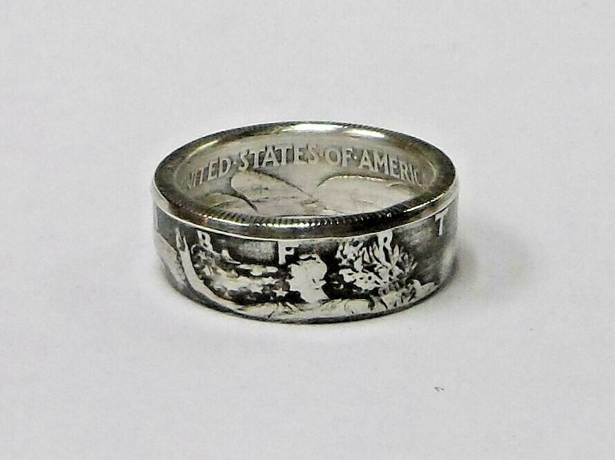 Coin ring HANDCRAFTED from Silver Walking Liberty Half Dollar in size 9 15