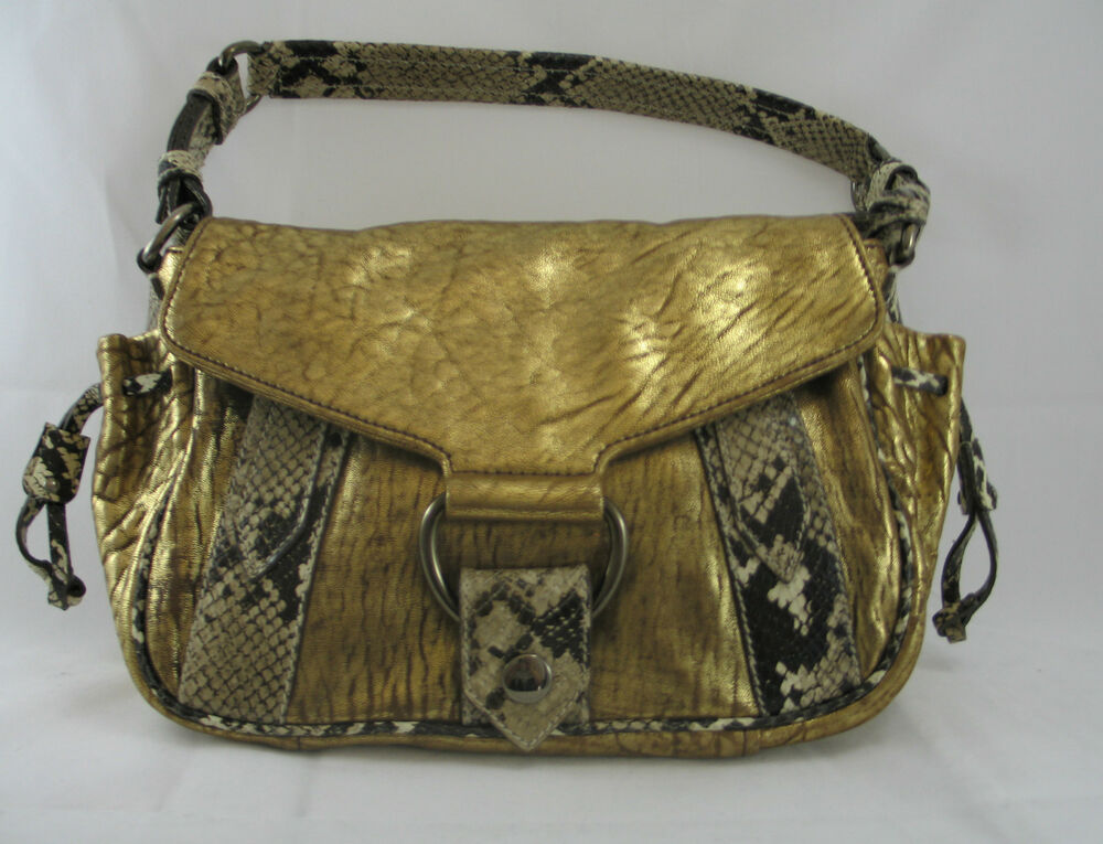 MIU MIU GOLD PYTHON EMBOSSED LEATHER SHOULDER BAG ITALY ...