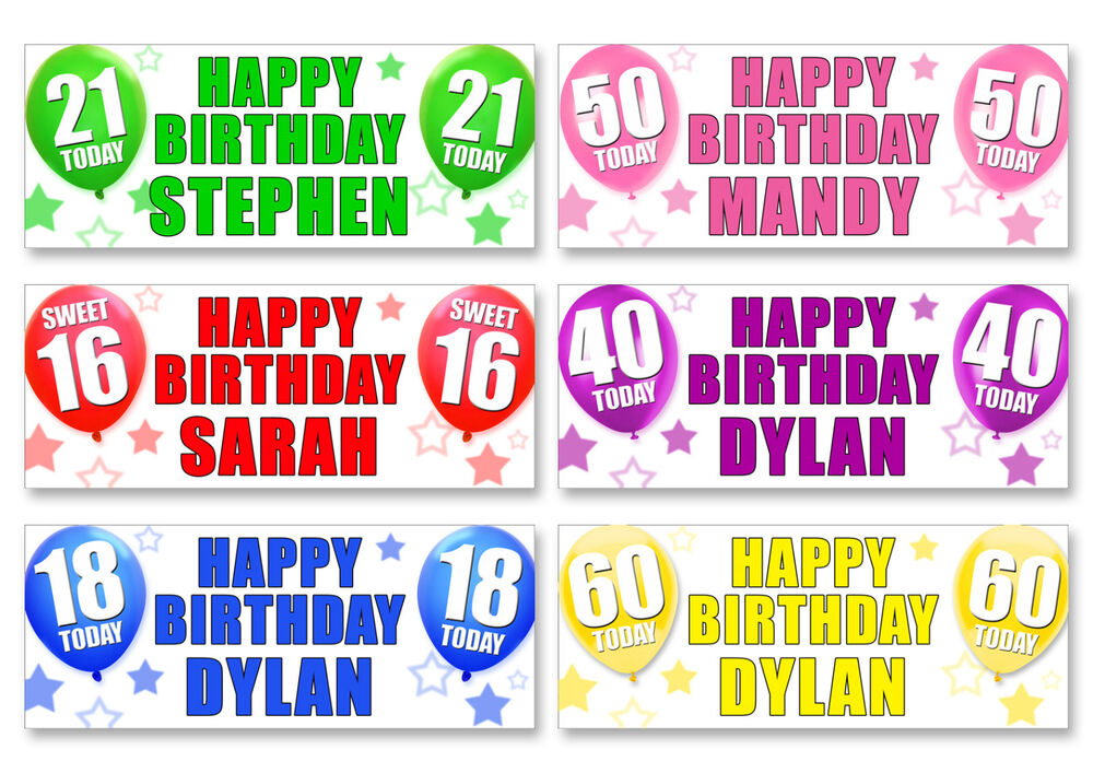 4 x personalised birthday banners any name 1st 18th 21st 30th 40th ebay