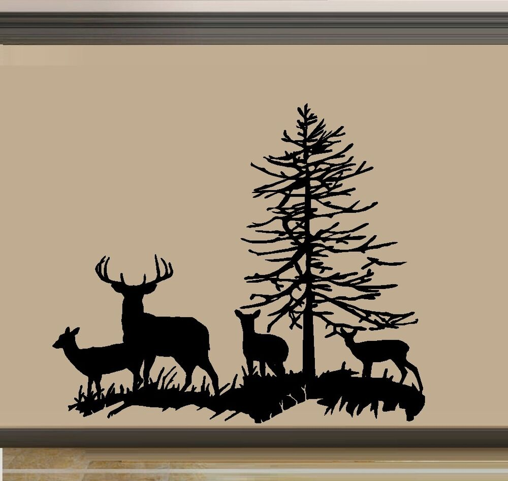 Deer family buck doe and two fawns wall decal ebay for Deer mural decal