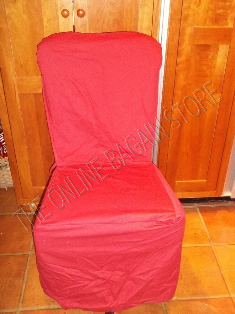 pottery barn twill side chair back tie kitchen dining slipcover cranberry red ebay. Black Bedroom Furniture Sets. Home Design Ideas
