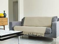 Luxury CREAM 100% Cotton Sofa / Bed Throw 180x230