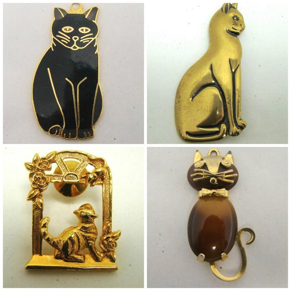 Obco Signed 4 Lot Goldtone Cat Pins Brooches Pendant