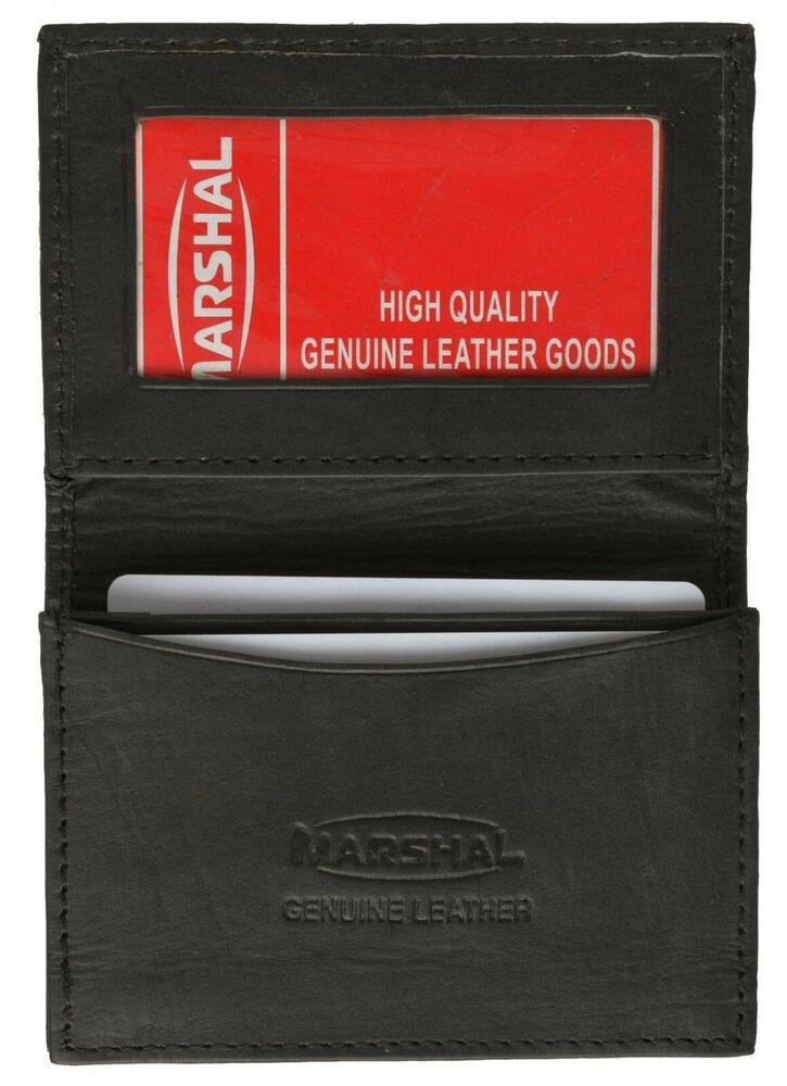Black Genuine Leather Expandable Credit Card Id Business