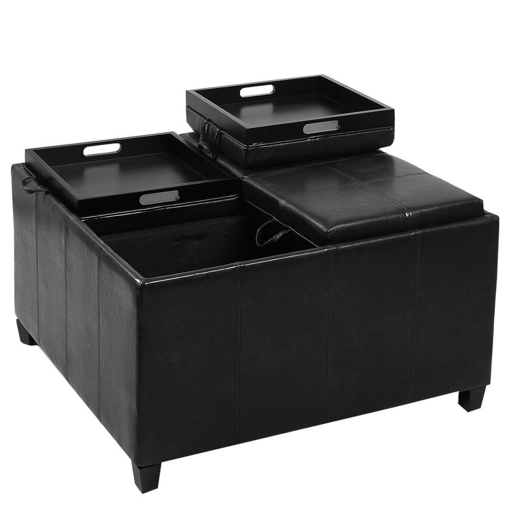 4 tray top ottoman storage table pu leather bench coffee fruit brown or black ebay Dark brown leather ottoman coffee table