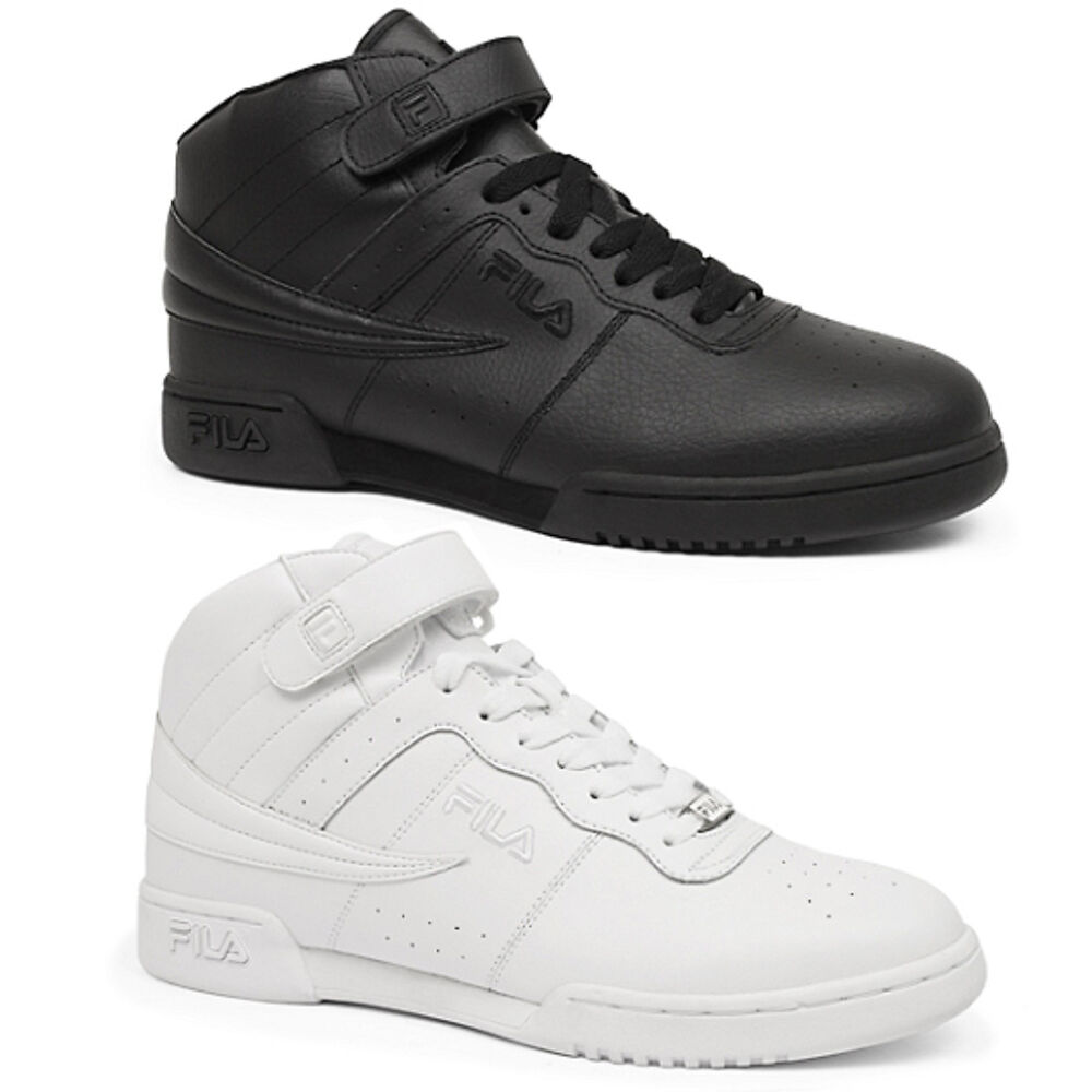 mens fila f13 f 13 classic mid high top basketball shoes sneakers white black ebay. Black Bedroom Furniture Sets. Home Design Ideas