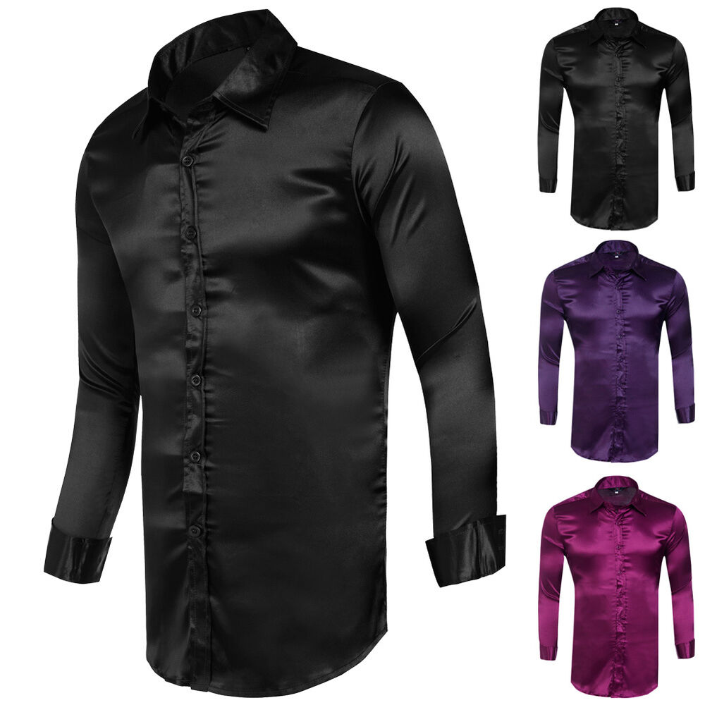 fashion mens silk like satin dress shirts slim fit long