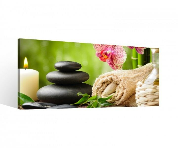 leinwand 1 tlg wellness feng shui bambus stein kerze blume. Black Bedroom Furniture Sets. Home Design Ideas