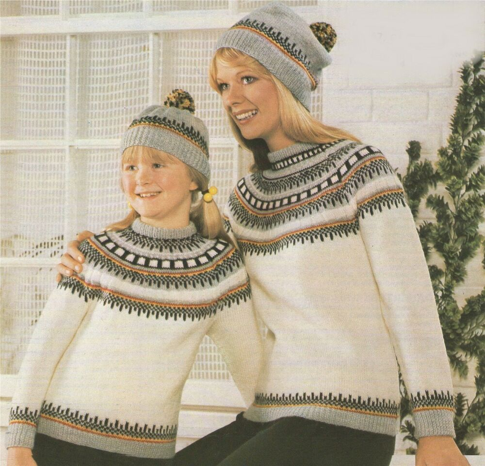 Knitted Throws Free Patterns : Ladies and Childs Fair Isle Sweater & Hat Knitting Pattern : DK : No...