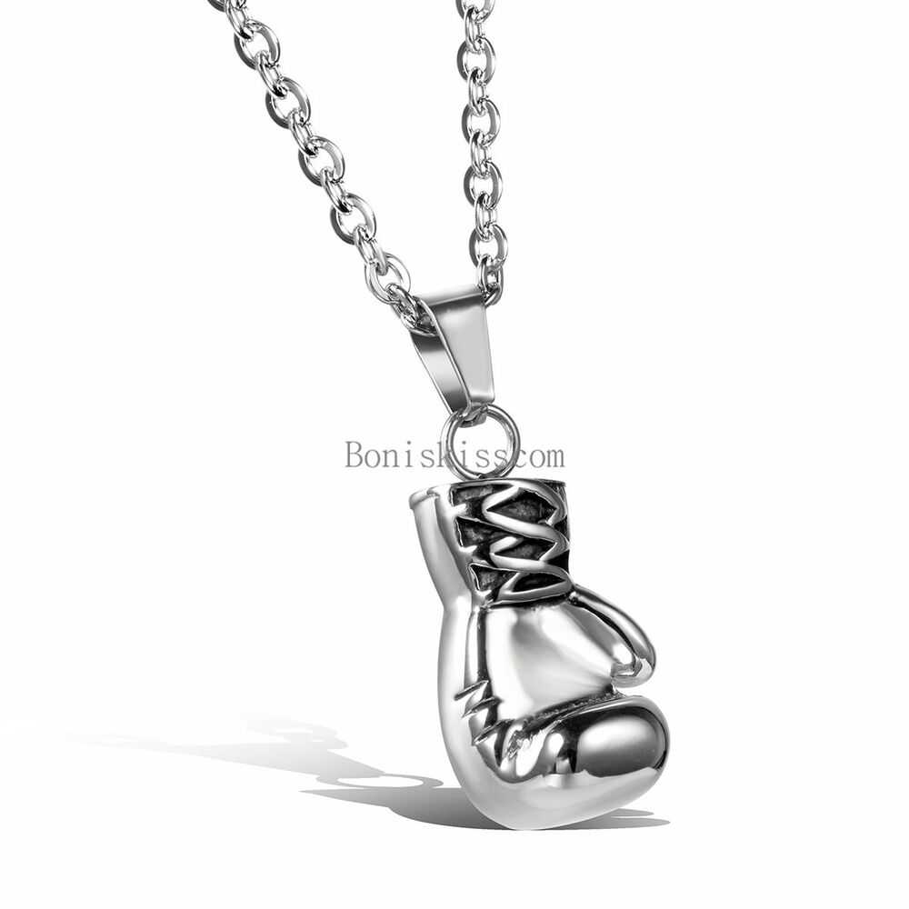 silver stainless steel boxing glove pendant necklace for