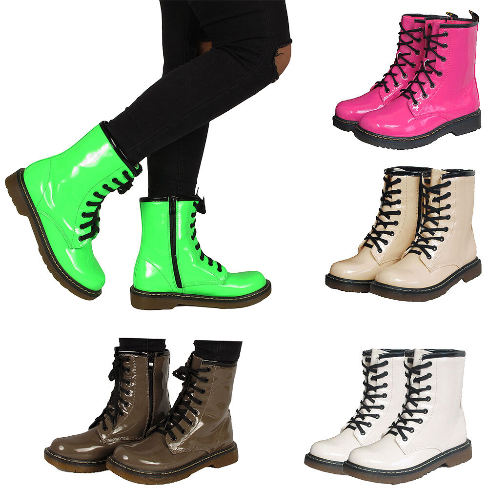 combat boots womens worker lace up ankle boots