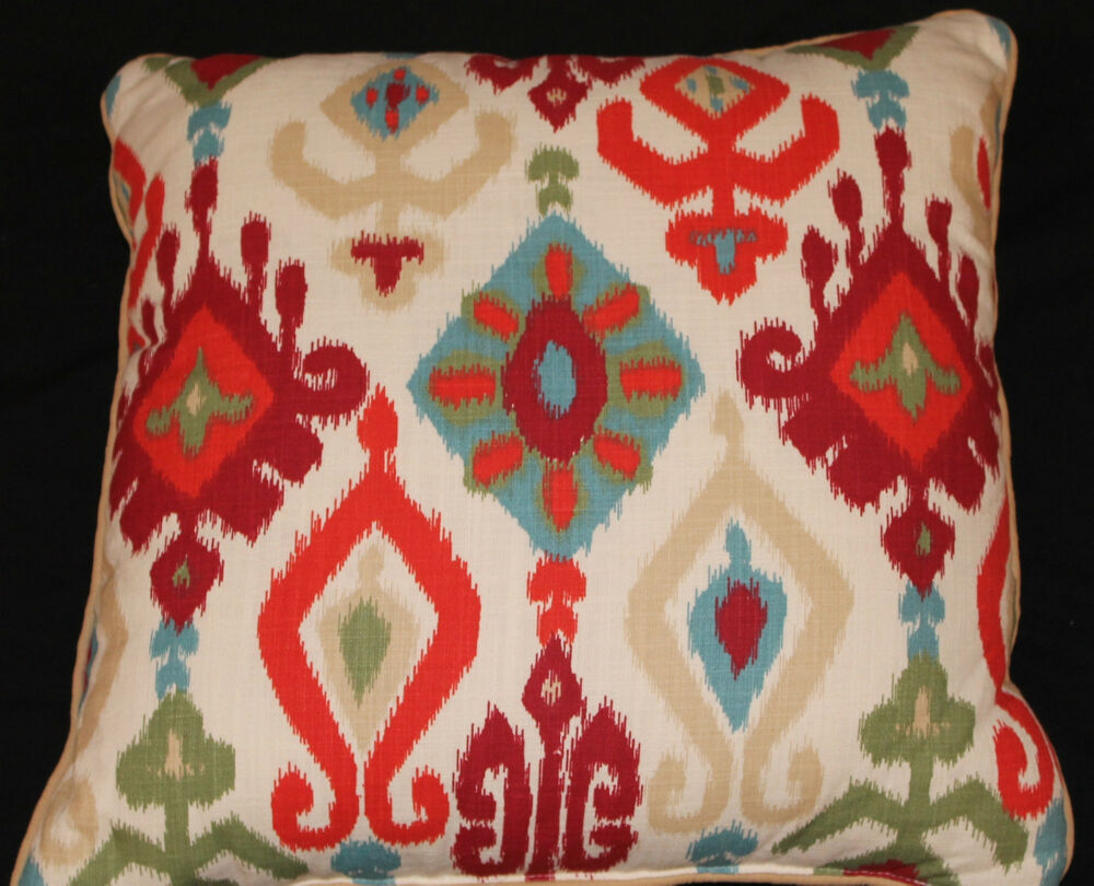 Throw Pillows With Red Accents : Accent Throw Pillow Burnt Orange Blue Red 18x18 nwot eBay
