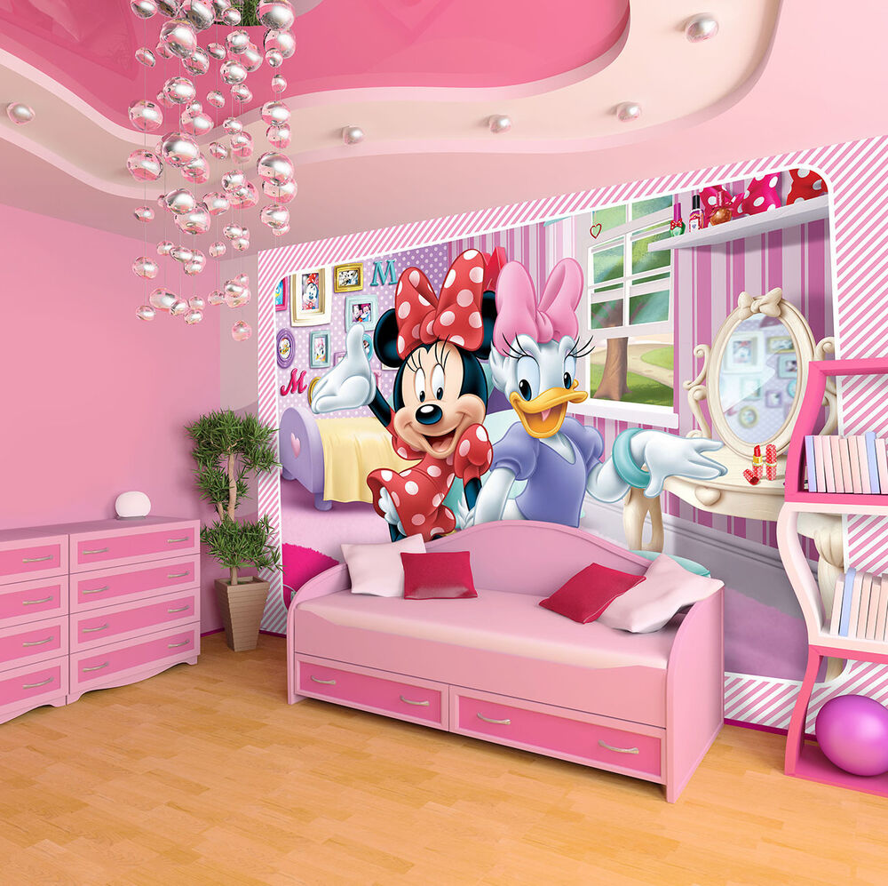 vlies fototapeten tapeten minnie disney kinderzimmer fur kinder 1645 ve ebay. Black Bedroom Furniture Sets. Home Design Ideas