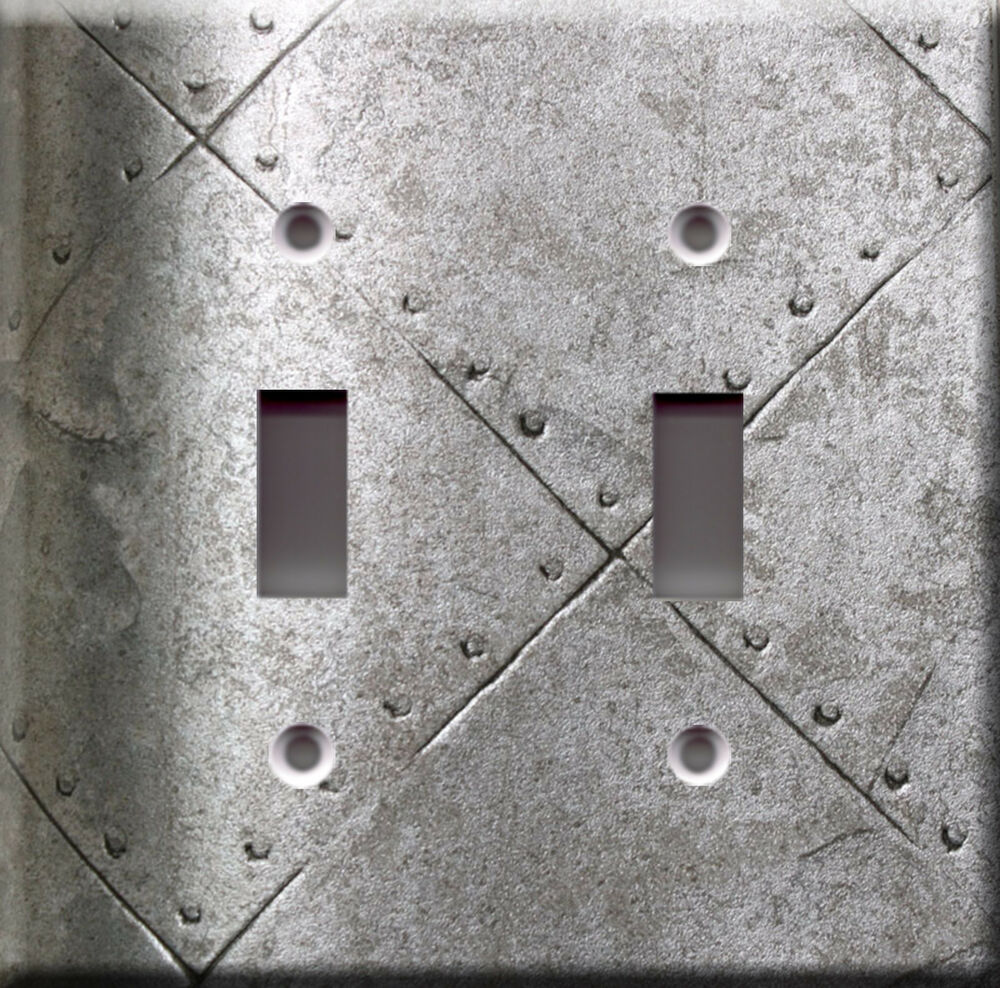 Light Switch Plate Cover: Armor Silver Metallic Faux