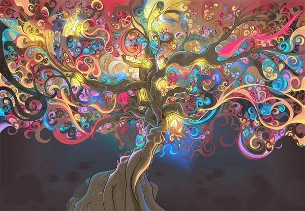 psychedelic tree trippy 3d artwork full wall mural