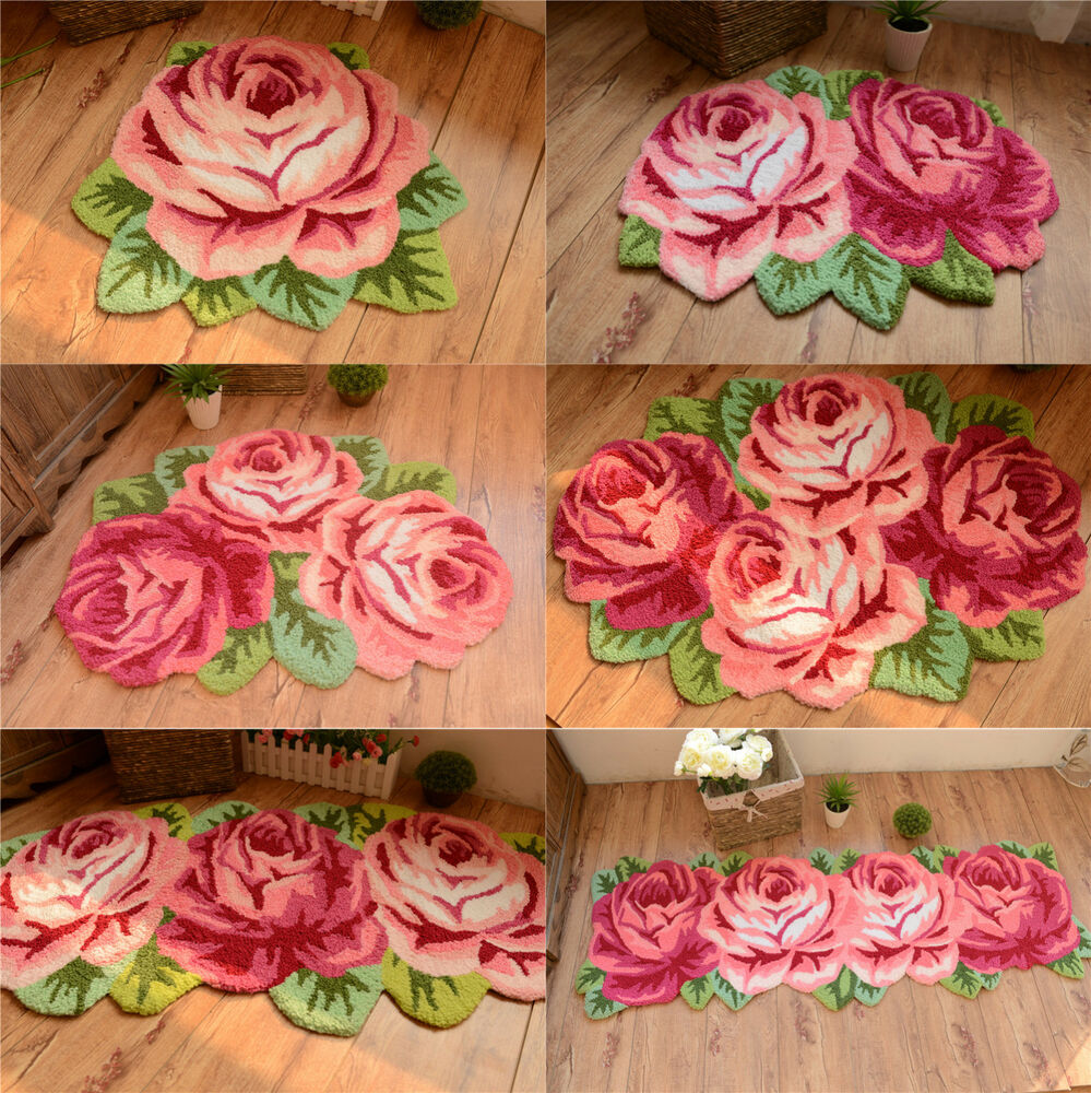 Vintage Roses Floral Hand Embroidery Non-skid Porch Door ...