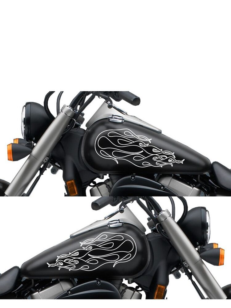Fgd Motorcycle Ghost Flames Gas Tank Decal Sticker Set
