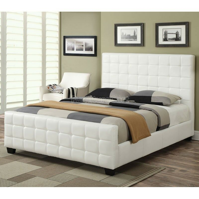 Cool contemporary white leatherette tufted king bed for Cool bedroom furniture