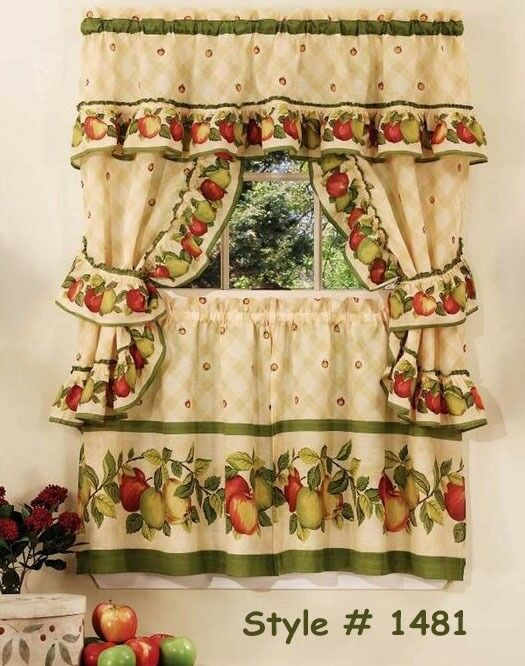 Apple Orchard Kitchen Curtain With Swag And Tier Set 36 In